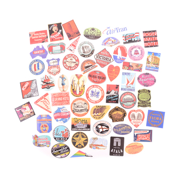 Mix 55pcs Retro Travel Hotel Logo Hawaii Stickers Bike Sliding Car Sticker for Travel Suitcase Wall Pencil Box image