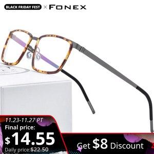 Image 1 - FONEX Acetate Alloy Eye Glasses Frames for Men Square Myopia Optical Prescription Eyeglasses Frames 2020 Screwless Eyewear 98629