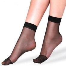 20pcs=10 Pairs Summer bamboo female Short Socks Womens socks Thin Crystal Transparent Silk Girl Ankle Sox Elastic