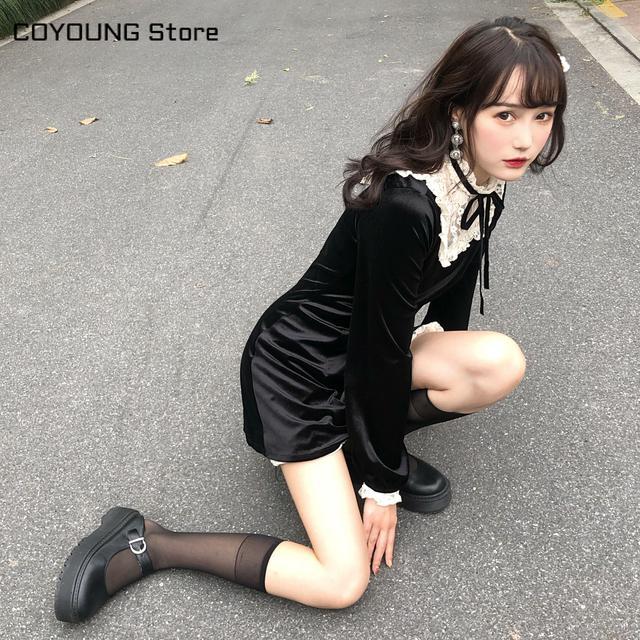 Vintage Gothic Lolita Dress Girls Japanese Lace Patchwork Lace-up Stand Collar Velvet Mini Dress Women Punk Dresses