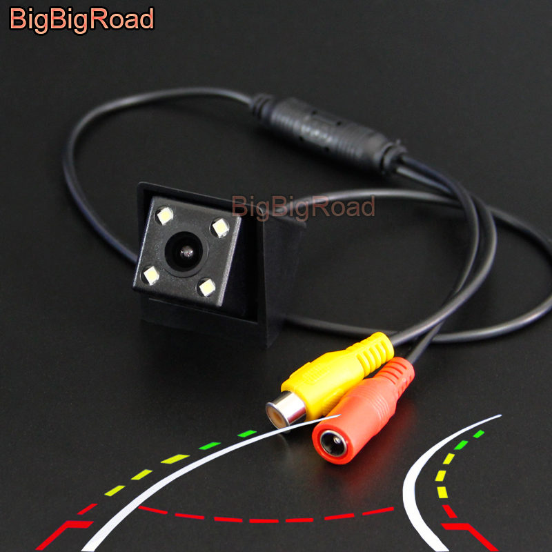 BigBigRoad Car Intelligent Dynamic Track Rear View Parking CCD Camera For Ssangyong Korando New Actyon Night Vision Waterproof image