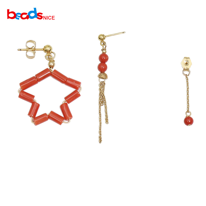 Beadsnice or rempli boucle d'oreille corail pendentif goutte longue corail boucle d'oreille bijoux fins