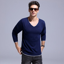 GustOmerD 2020 New Casual 100% Cotton Men's Sweater Solid Color Pullover V-neck Long Sleeve Sweater Men