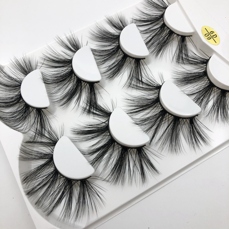 Buzzme 6D09 100% handmade natural thick Eye lashes wispy makeup extention tools 25mm faux mink hair volume soft false eyelashes