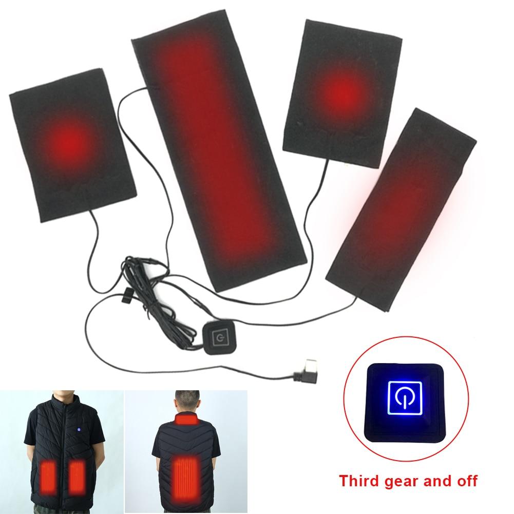 Углерод волокно обогрев лист трехуровневый регулируемый температура 5 В электрический USB зарядка моющийся и складной для жилета куртки