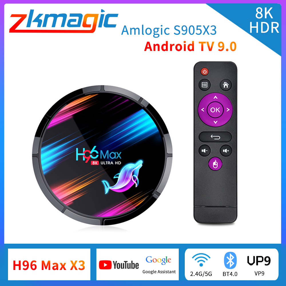 ТВ приставка Android 9,0 H96 max x3 Amlogic S905X3 для приставки android Smart TV Box, Youtube 2,4G/5G WI-FI BT4.0 8K голосового помощника Google H96X3