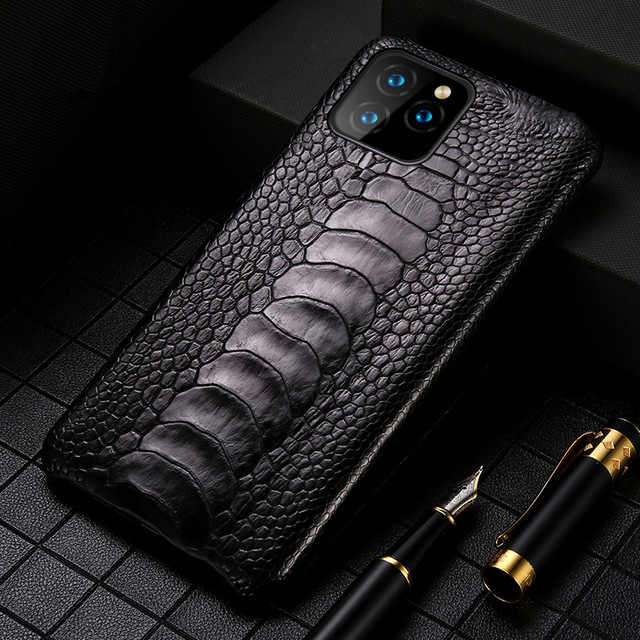 Luxury Genuine Natural ostrich feet <font><b>cases</b></font> for <font><b>iPhone</b></font> 11 11Pro MAX <font><b>Original</b></font> Leather FHX-KZ <font><b>Case</b></font> for <font><b>iPhone</b></font> 7 8 Plus <font><b>X</b></font> XR <font><b>XS</b></font> MAX image