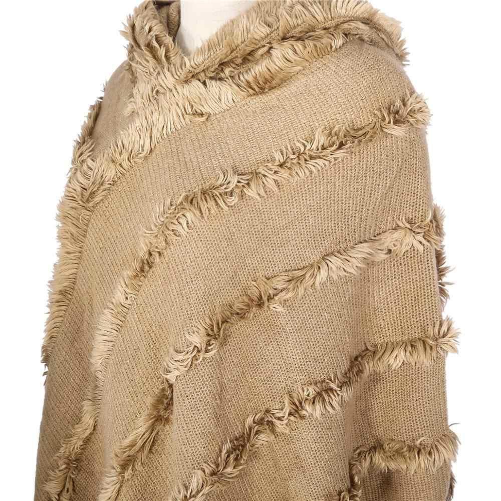 2019 겨울 여성의 술 모피 판초 케이프 카디건 랩 목도리 두꺼운 따뜻한 캐시미어 스카프 랩 soild 컬러 울 스웨터