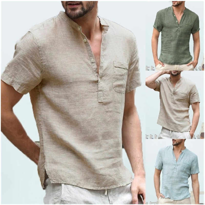 Men's Short Sleeve Blouse New Cotton Linen Solid Color Loose Pullover V-Neck Tee Shirt Fashion Casual Breathable Exercise Tops M