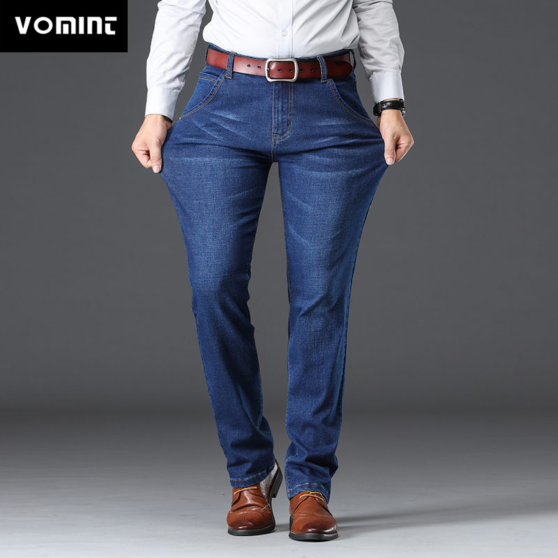 Vomint Mens Jeans  Business Regular Straight Full Lenght Jean Casual Denim Trousers Elasticity Stretch Fabric Pant
