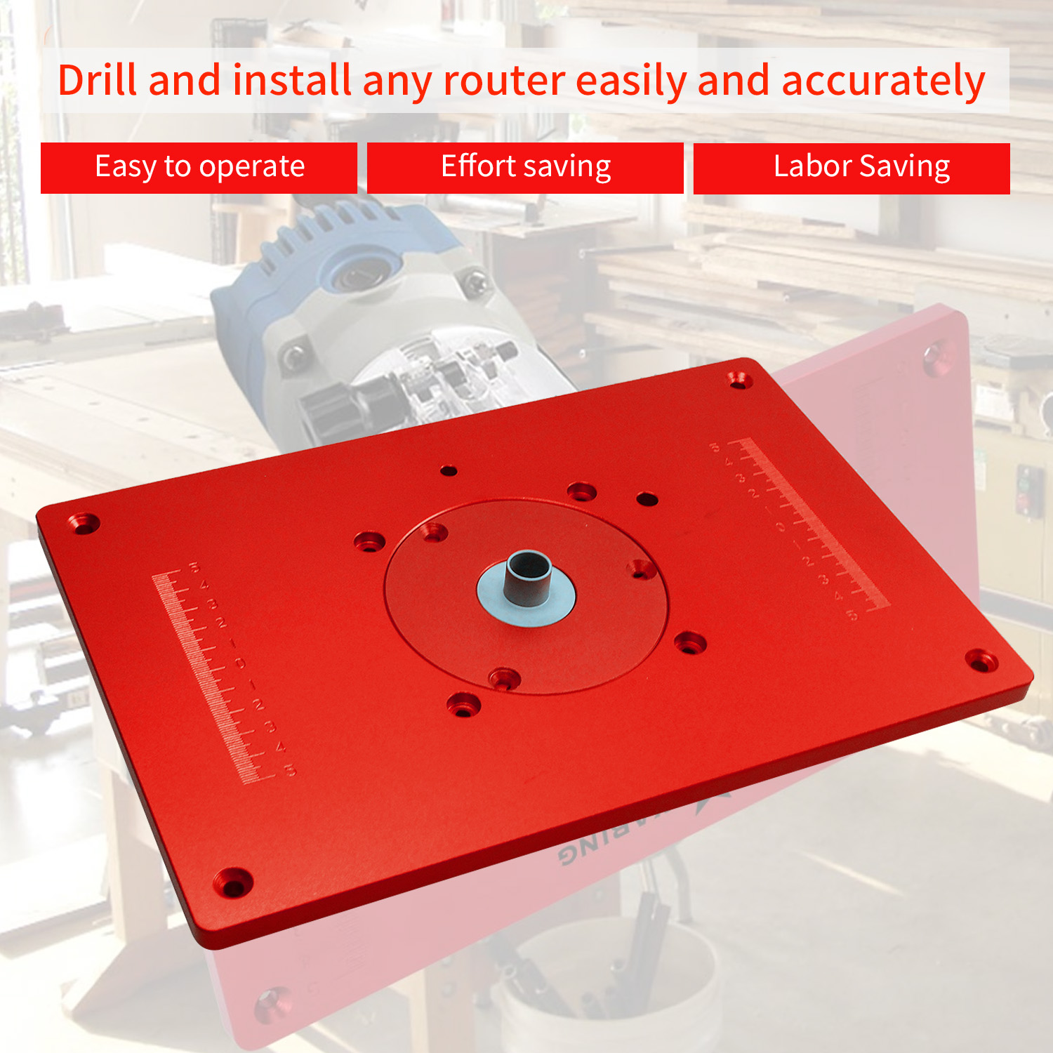 Universal Router Table Saw Insert Base Plate Kit Red Board Trimming Machine Flip Board For Woodworking
