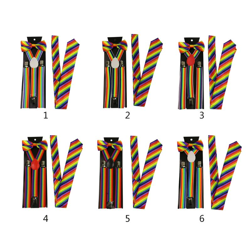 Men Women 3 Piece Rainbow Striped Costume Set Y-Back Suspenders Bow Tie Necktie