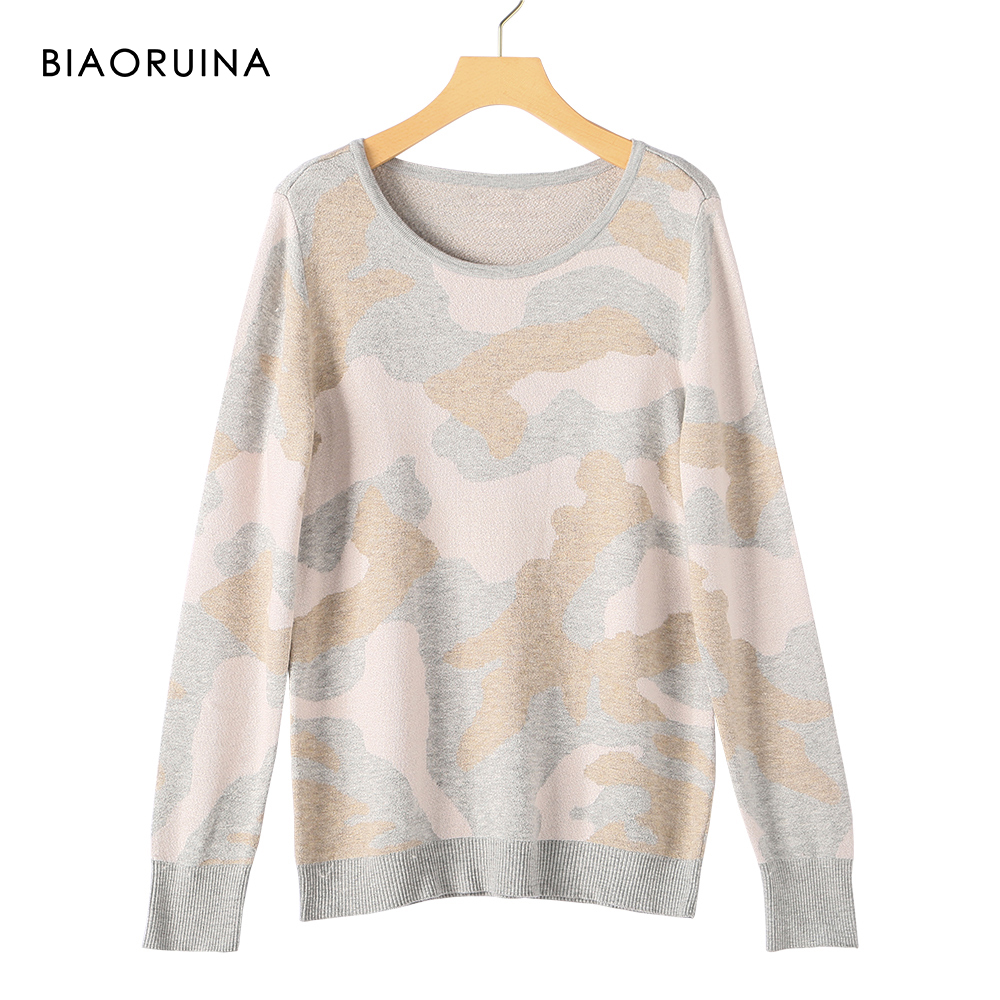 BIAORUINA Women's Camo Jacquard Round Collar Casual Knitted Pullover Female All-match Comfortable Casual Sweater New Arrival
