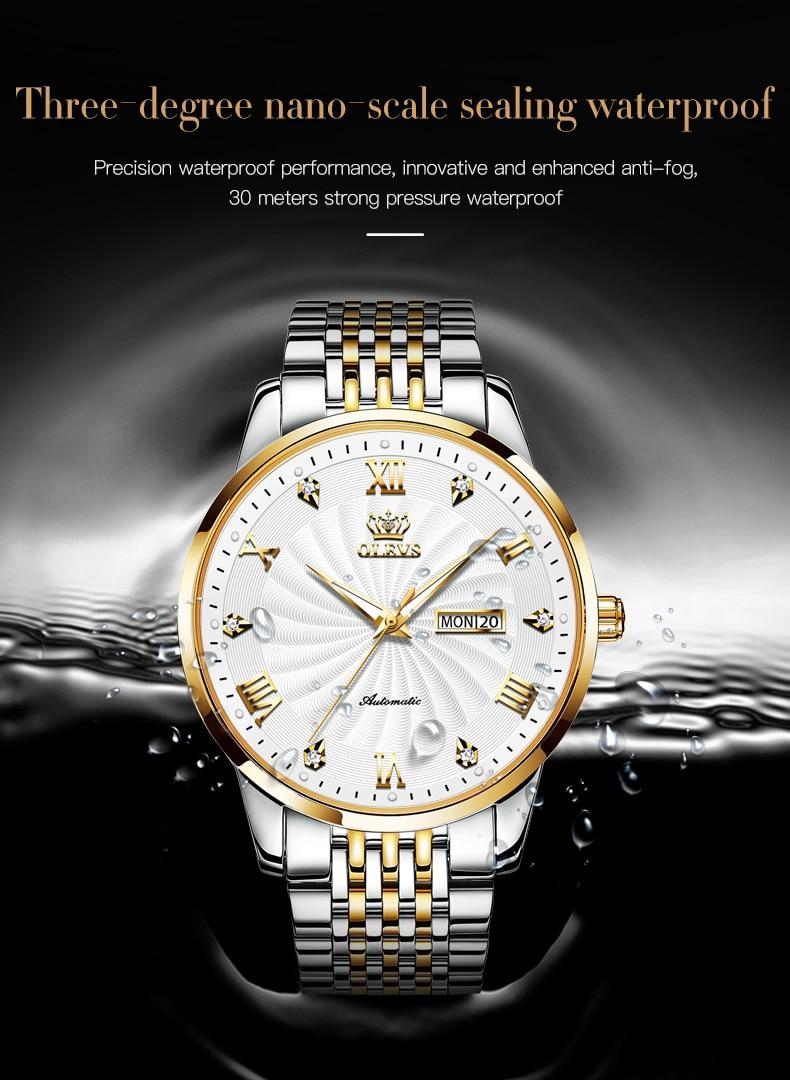 de luxo relógio automático esporte aço inoxidável