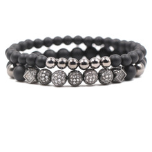 2 Pcs/set 6mm 8mm Matte Black stone Beads Bracelet Pave CZ 4 color 5 Ball Bracelets for Women&Men fashion Jewelry charm Pulseras стоимость