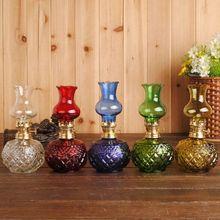 Lámpara de queroseno de cristal de Color clásico de tamaño pequeño, lámpara de mesa de decoración Vintage, lámpara de mesa, lámpara de escritorio, artesanías, regalos, linterna