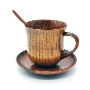 Hot 3Pcs/Set Wooden Cup Saucer Spoon Set Coffee Tea Tools Accessories