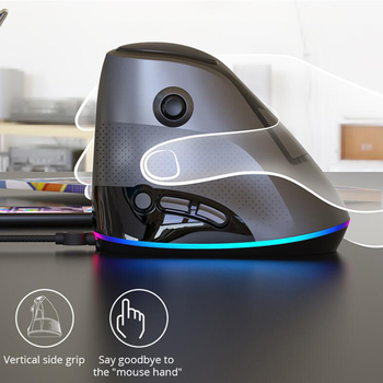 Ajazz AJ307 Vertical Gaming Mouse Wired RGB Backlit Ergonomic 4800DPI Adjustable USB Wired 7 keys Esport Gaming Mouse for Gamer