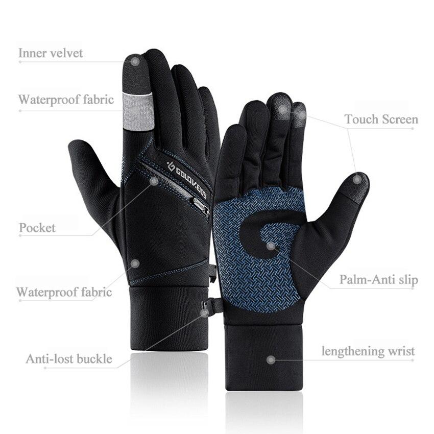 New Warm Gloves For Men Autumn Winter Outdoor Anti-slip Touch Screen Riding Gloves Ski Waterproof Zipper Pocket Male Gloves Gift