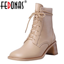 FEDONAS Women Genuine Leather Ankle Boots Warm Winter Retro Casual Shoes Woman Female High Heeled Square Toe Short Riding Boots