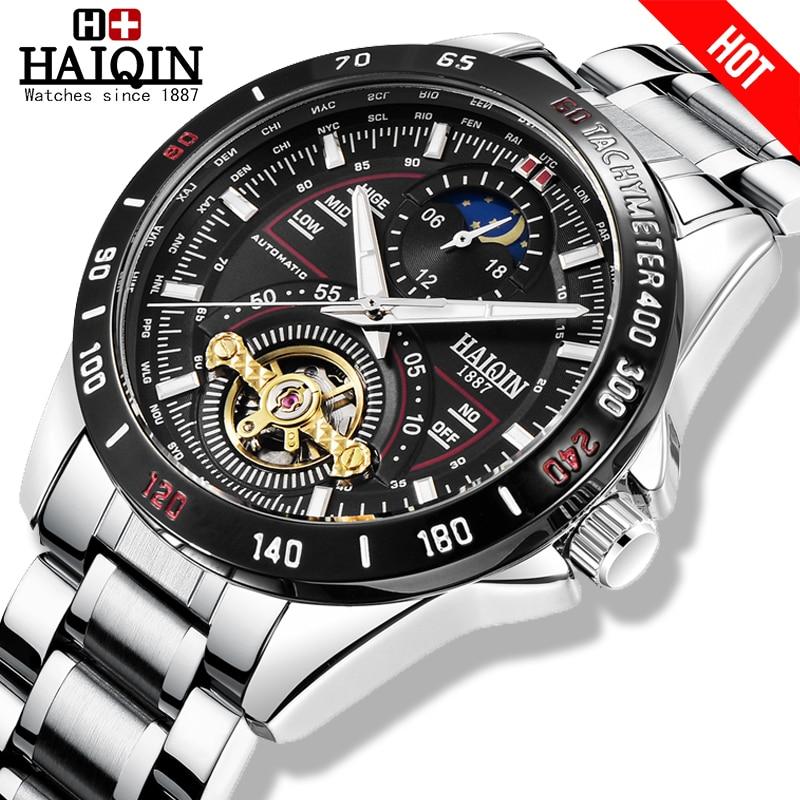 HAIQIN Men's/mens watches top brand luxury watch men mechanical Military waterproof wristwatch mens Tourbillon reloj hombre 2019|Mechanical Watches| |  -