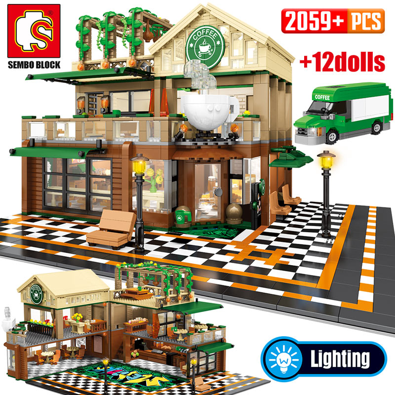 SEMBO 2059Pcs Creative Cafe Coffee Shop Model Building Blocks City Street View Casual House Figures Bricks Toys For Children