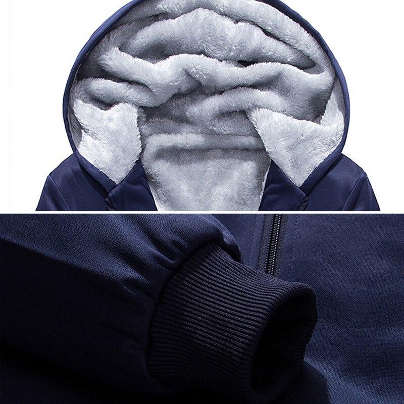 Image 4 - Brand Men Sets Autumn Winter Thick Fleece Sporting Suit 6XL  Sweatshirt   Sweatpants Mens Clothing Sets Tracksuit Large Size  8XLMens Sets