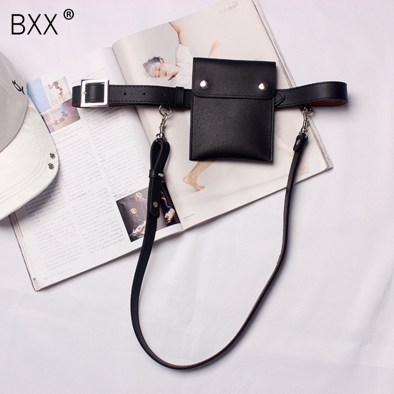 [BXX] 2020 Autumn Unisex Fashion Belt Narrow Adjustable Shoulder Straps Rectangle Rivet Mini-bag Adult PU Belt C08101
