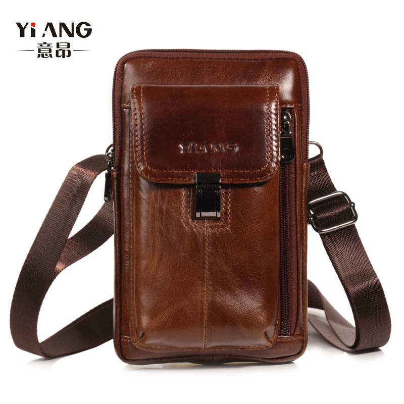 YI'ANG Brand Genuine Leather 7' Casual Cell Mobile Phone Pouch Case Men Crossbody Shoulder Messenger Bag Belt Cross Waist Pack
