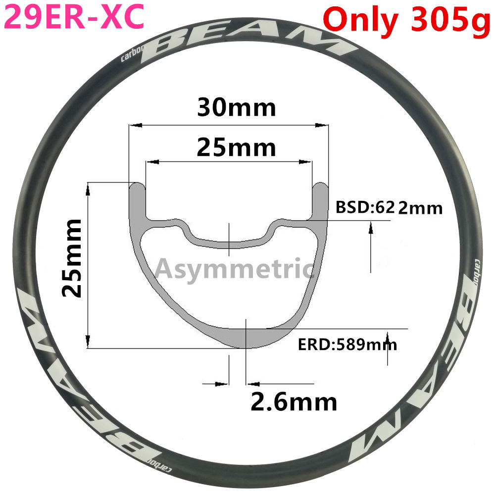 [CBZA29XC30SL] אסימטרית 300g 30mm רוחב 25mm עומק 29er פחמן שפת גלגל אופני הרים ללא פנימית XC 29er פחמן mtb חישוקים
