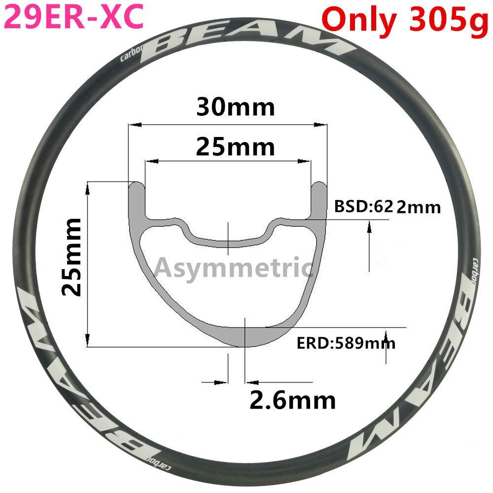 [CBZA29XC30SL] asymétrique 300g 30mm largeur 25mm profondeur 29er carbone jante VTT roue Tubeless XC 29er carbone vtt jantes