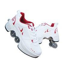 Chaussures de course, avec patins à roulettes, unisexe,soulier avec quatre roues rondes, déformable, pour parcours de patinage,
