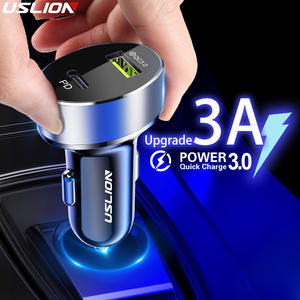 USLION 36W Quick Charge 3.0 USB Car Charger For iPhone 11 Pro 11Pro Max Huawei PD3.0 Type C Fast Charge Car USB C Phone Charger