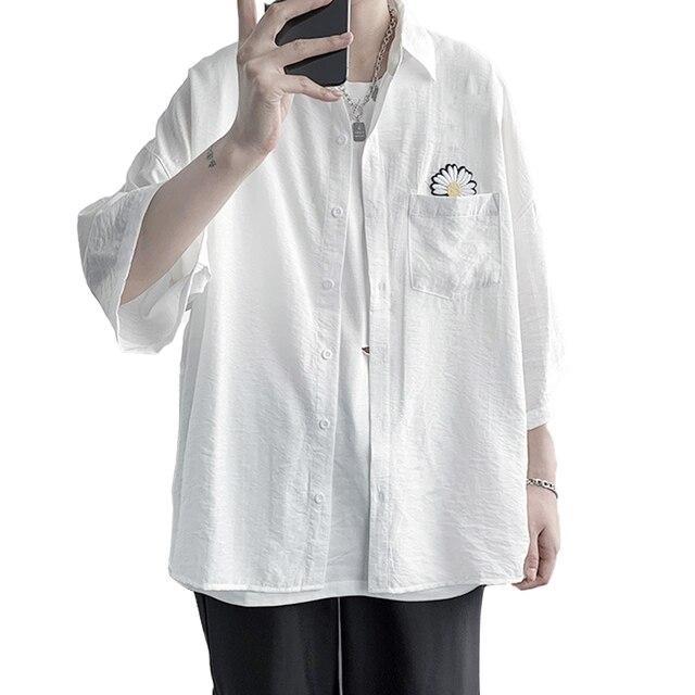 рубашка shirt men Marguerite Three-quarter Sleeves Shirt Pocket Summer Men Casual Top Workwear shirts for men  рубашка мужская 2