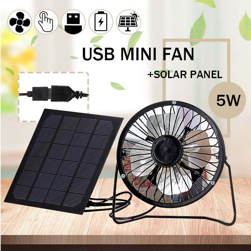 USB Mini Fan USB 5W 5V Solar Panel Iron Fan Cooling Ventilation Silent Fan For Smartphone Power Bank Laptop Desktop