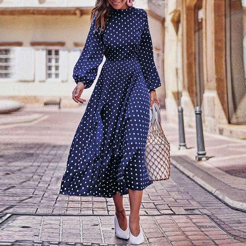 Boho Lantern Sleeve Polka Dot Printed Long Dress Women Elegant Vintage Stand Collar Long Sleeves Autumn Dress Plus Size