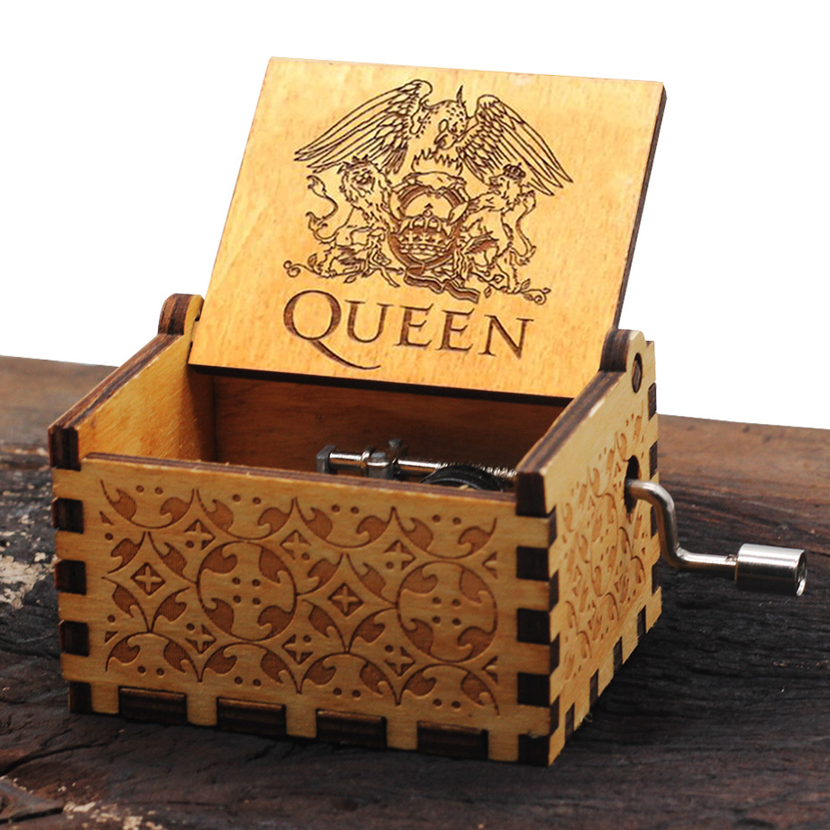 Wooden Engraved Queen Music Box Bohemian Rhapsody Kids Christmas Gift Music Hot