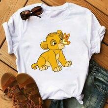 T-shirt manches courtes décontracté avec dessin animé Ms ms, roi lion, impression en vrac, harajuku
