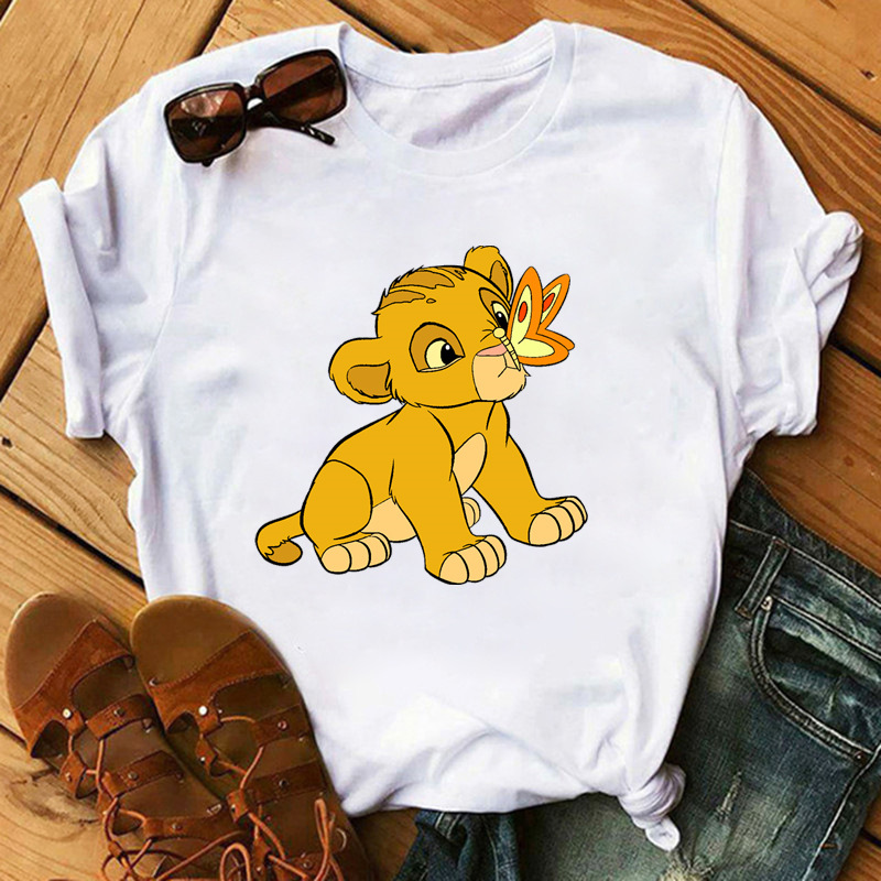 Ms ms dessin animé T-shirt roi lion impression t-shirts en vrac harajuku anime chemises décontractées avec manches courtes mante