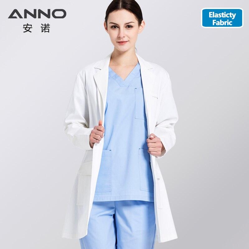 ANNO белый лабораторное пальто эластичная ткань доктор Униформа скрабы наряд медицинская одежда с длинным рукавом доктор Костюм