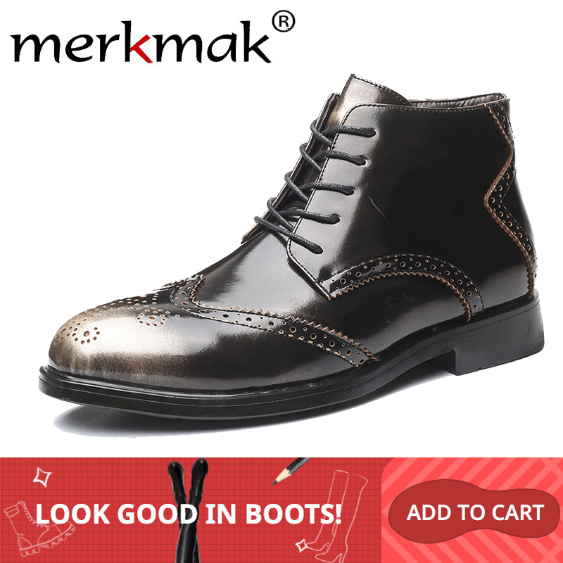 Merkmak Round Toe Men Shoes New Fashion Autumn Male Leather Boots Classic Lace-up Oxfords Booties Warm Big Size Male Ankle Boots