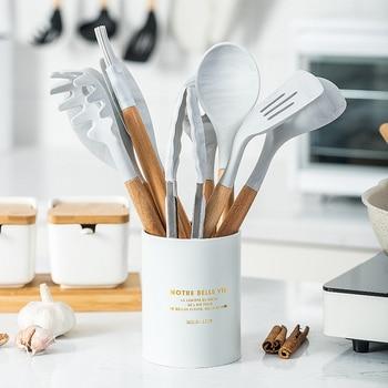 10/11PCS Premium Silicone Utensils Set Non-stick Spatula Shovel Wooden Handle Cookware Set With Storage Box Kitchen Tools 1