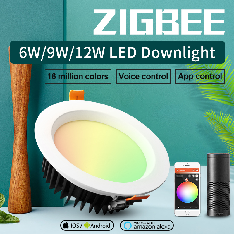 ZIGBEE ZLL3.0 Indoor Smart 6W 9W 12W LED RGB+CCT Downlight AC100-240V Compatible With Amazon Echo Plus And Many Gateways Colors