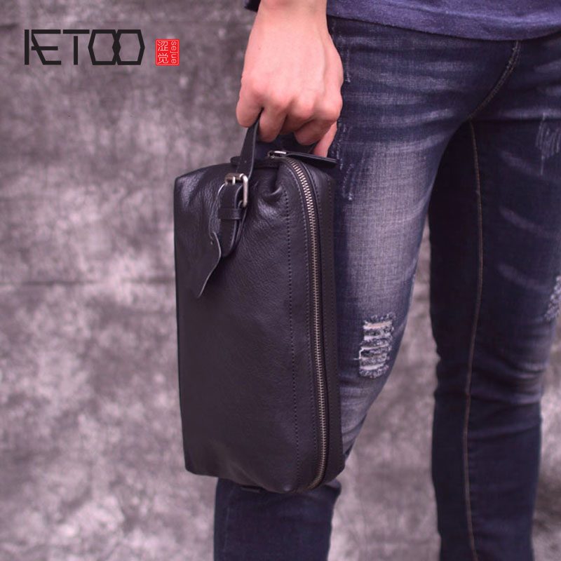 AETOO Clutch Bag Men's Leather Retro Trend Casual Clutch Bag Men's Leather Bag New Large Capacity Portable