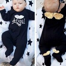 Черный комбинезон с принтом «Крылья Ангела», детский зимний комбинезон, Одежда для новорожденных, крошечный хлопковый комбинезон с длинными рукавами, унисекс, детская одежда