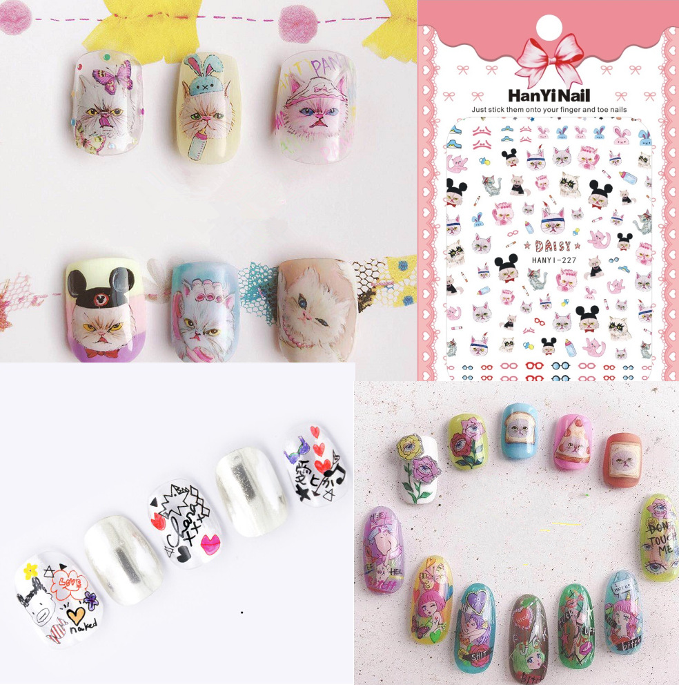 Hanyi222-2277 Japanese-style 3D Nail Decals With Gum Nail Sticker Nail Ornament