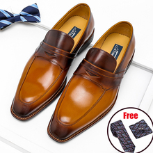 Loafers Italian Oxfords Dress Casual-Shoes Wedding-Brown Pointed-Toe Phenkang Genuine-Leather