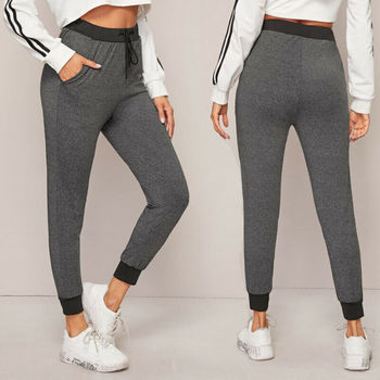 New Women Casual High Waist Yoga Pants Pure Color Grey Trousers Fitness Girl Yoga Leggings Gym Running Sports Thin Pants image