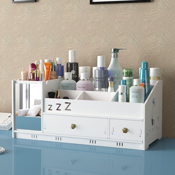 Escritorio Caja de almacenaje para maquillaje hogar tipo cajonera de cuidado de la piel productos de acabado de caja simple espejo de tocador sostenedor del lápiz labial