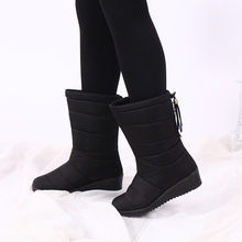 Winter Boots 2020 Women Winter Shoes Mid-Calf Snow Boots Wedges Warm Fur Female Boots Shoes